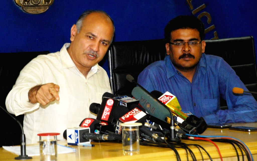 Delhi Deputy Chief Minister Manish Sisodia addresses a press conference in New Delhi, on July 23, 2015.