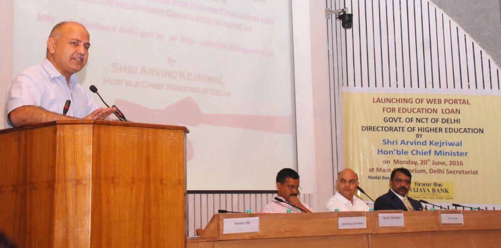 Delhi Deputy Chief Minister Manish Sisodia addresses at the launch of online application portal for Higher Education and Skill Development Guarantee Scheme in New Delhi, on June 20, 2016. - Manish Sisodia