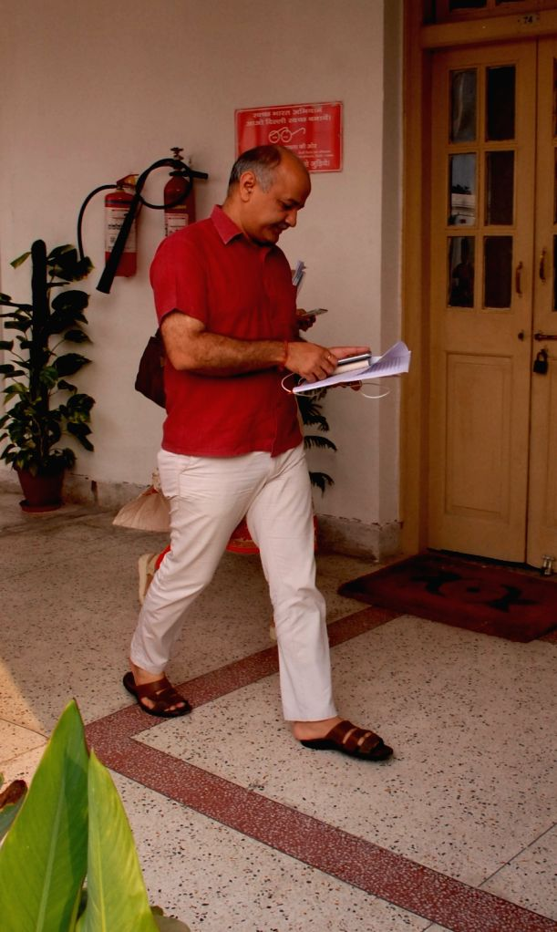 Delhi Deputy Chief Minister Manish Sisodia arrives at Delhi Assembly to attend a special session in New Delhi, on Sept 30, 2016. - Manish Sisodia