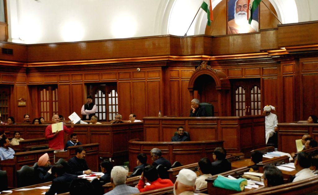 Delhi Deputy Chief Minister Manish Sisodia addresses at Delhi Assembly's budget session in New Delhi, on March 10, 2017. - Manish Sisodia