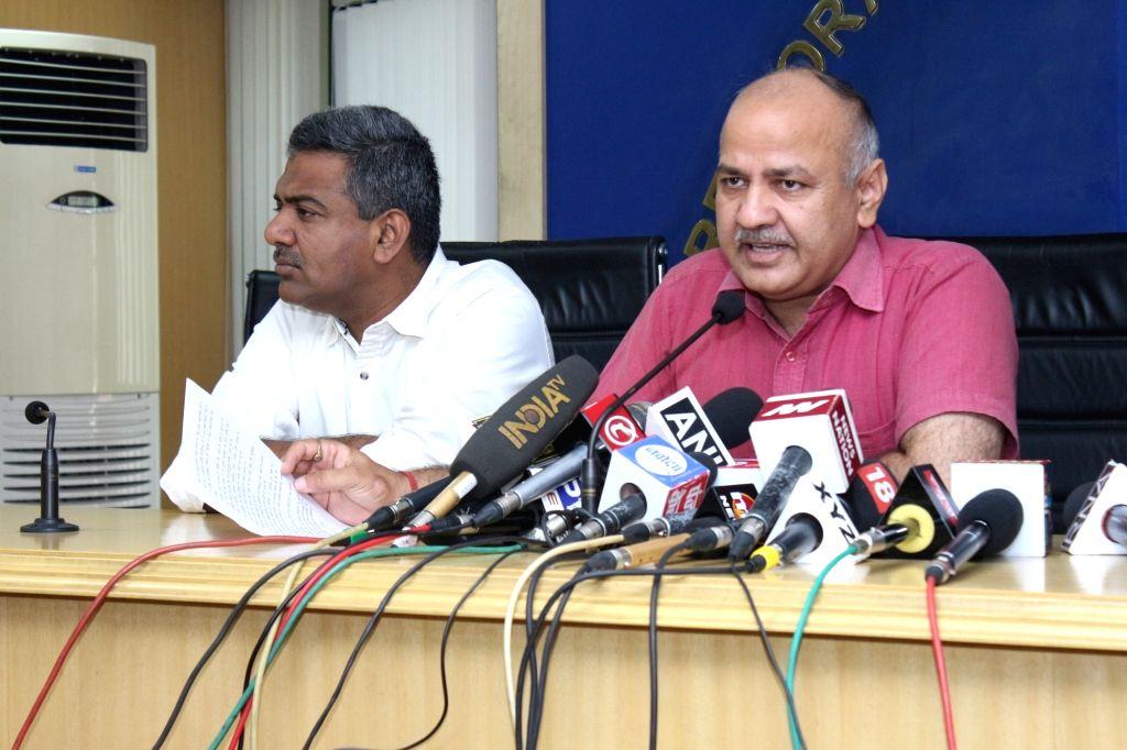 Delhi Deputy Chief Minister Manish Sisodia addresses a press conference in New Delhi on June 14, 2017. - Manish Sisodia