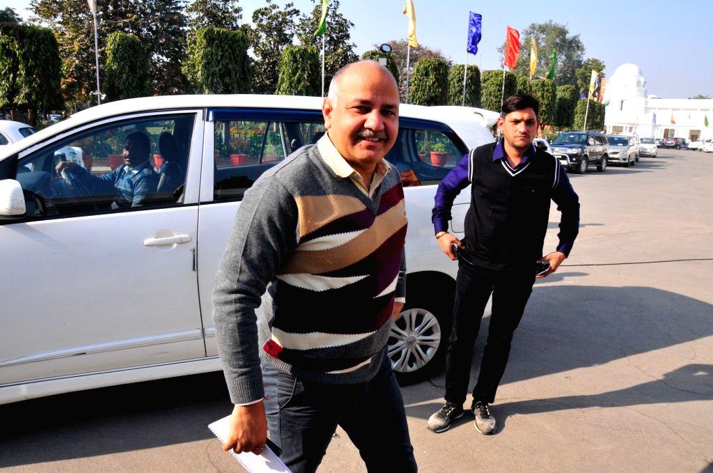 Delhi Deputy Chief Minister Manish Sisodia arrives at Delhi Assembly on Jan 15, 2018. - Manish Sisodia