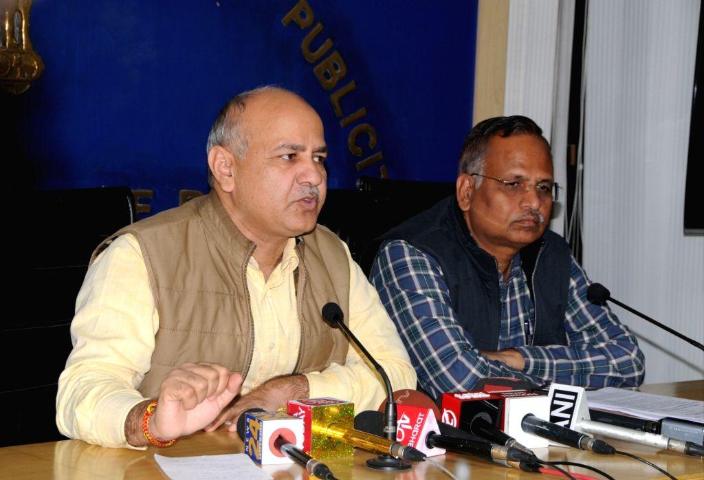 Delhi Deputy Chief Minister Manish Sisodia addresses a press conference in New Delhi on March 6, 2019. - Manish Sisodia