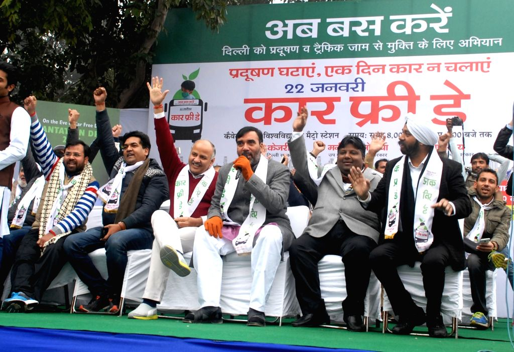 Delhi Deputy Chief Minister Manish Sisodia and Transport Minister Gopal Rai during a programme organised on car free day in New Delhi, on Jan 22, 2016. - Manish Sisodia and Gopal Rai