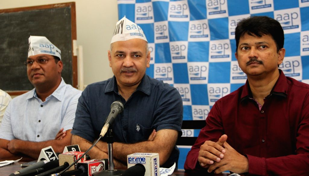 Delhi Deputy Chief Minister Manish Sisodia during a press conference in Panaji on Oct 5, 2016. - Manish Sisodia