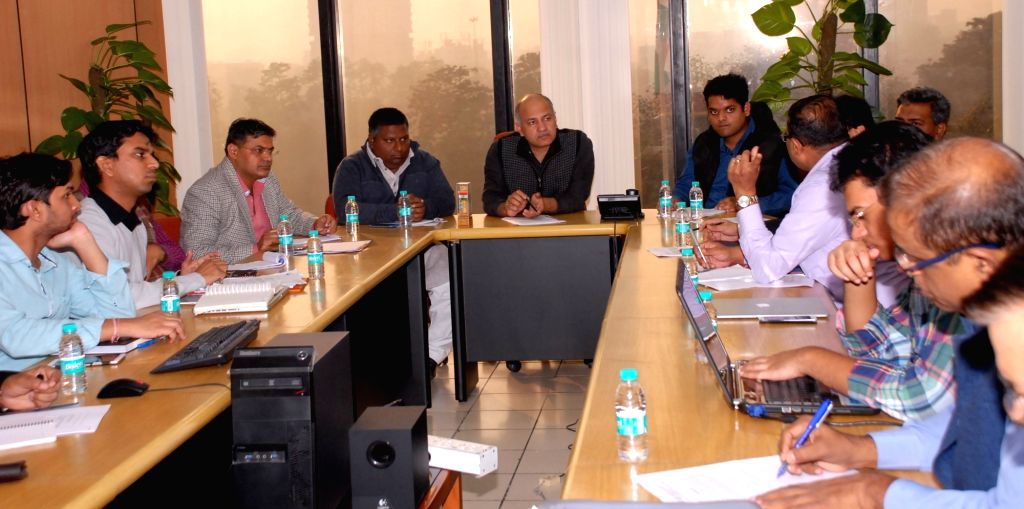 Delhi Deputy Chief Minister Manish Sisodia during a high-level meeting with officials from PWD, Environment and Delhi Poltution Control Committee in New Delhi on Nov 30, 2016. - Manish Sisodia