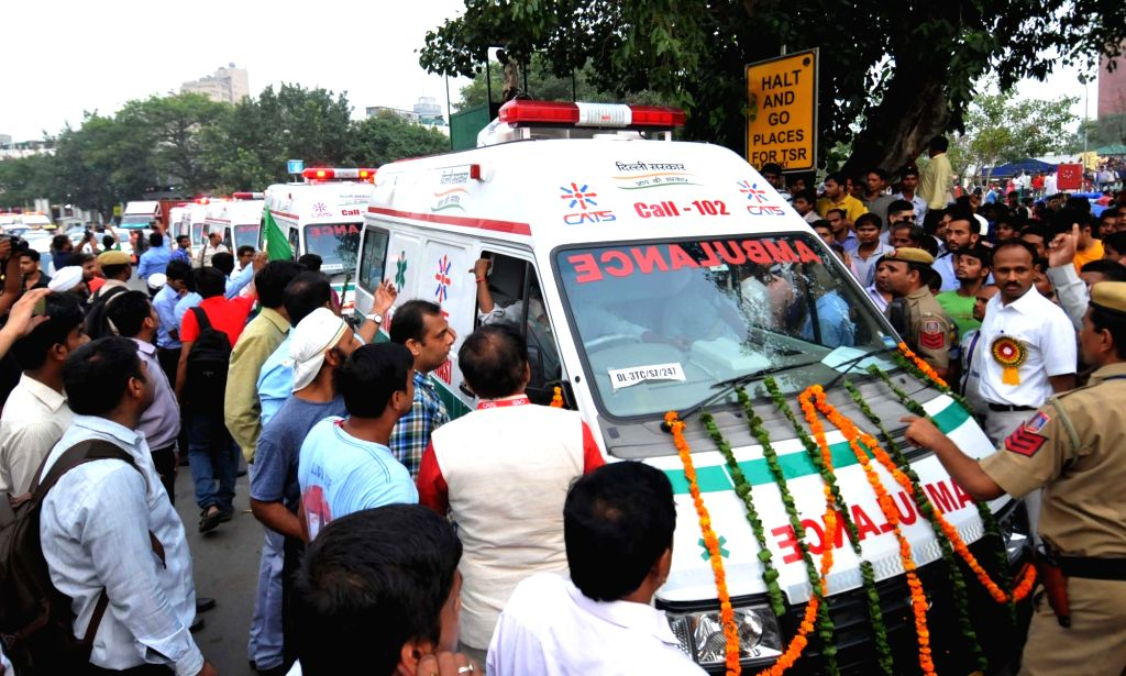 Delhi Deputy Chief Minister Manish Sisodia flags off a fleet of ambulances equipped with state-of-art gadgetry in New Delhi on July 3, 2016. - Manish Sisodia