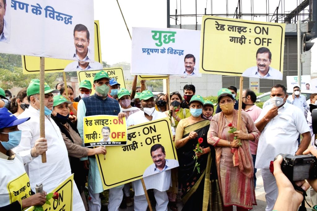 Delhi Employment, Development, Labour, General Administration and Irrigation Minister Gopal Rai and Food and Civil Supplies, Environment & Forests Minister Imran Hussain during their ... - Gopal Rai
