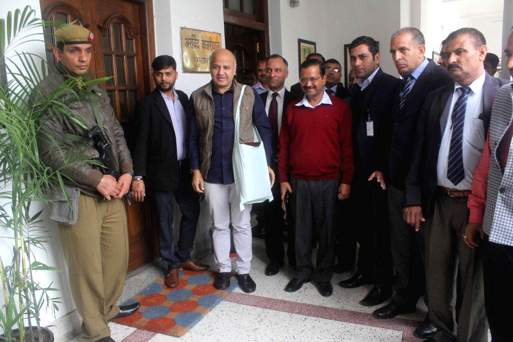 Delhi Finance Minister Manish Sisodia along with Delhi Chief Minister Arvind Kejriwal arrives to present state budget for 2019-20 at state assembly in New Delhi on Feb 26, 2019. - Manish Sisodia and Arvind Kejriwal