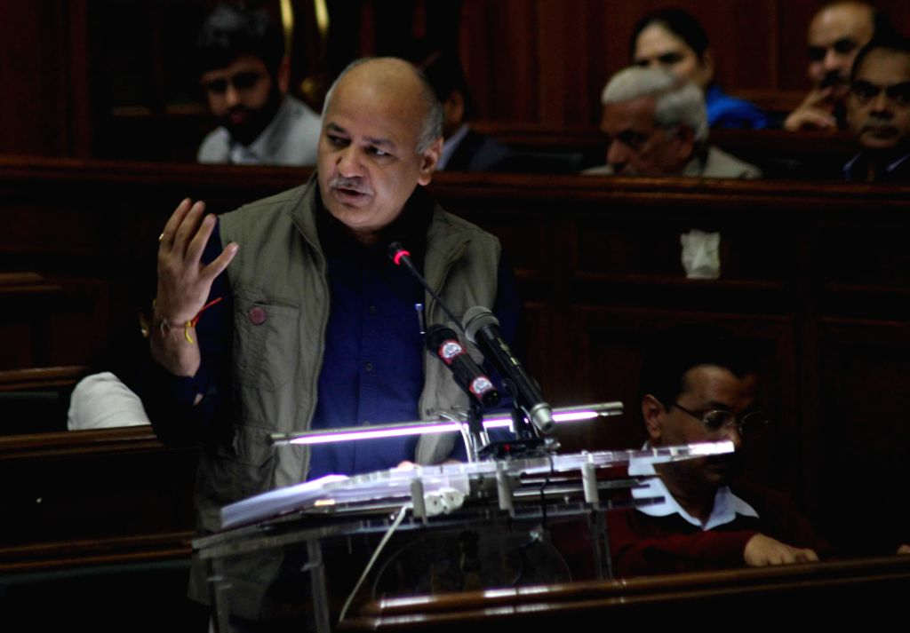 Delhi Finance Minister Manish Sisodia presents state budget for 2019-20 at state assembly in New Delhi on Feb 26, 2019. - Manish Sisodia