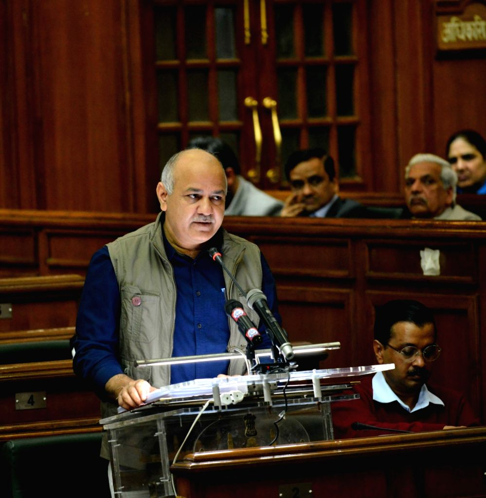 Delhi Finance Minister Manish Sisodia presents the state budget for 2019-20 at state assembly in New Delhi on Feb 26, 2019. - Manish Sisodia