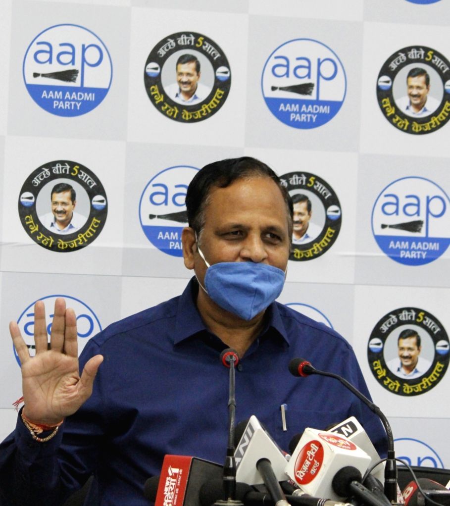 Delhi Health Minister and AAP leader Satyendra Jain addresses a press conference at the party office in New Delhi on Oct 29, 2020. - Satyendra Jain
