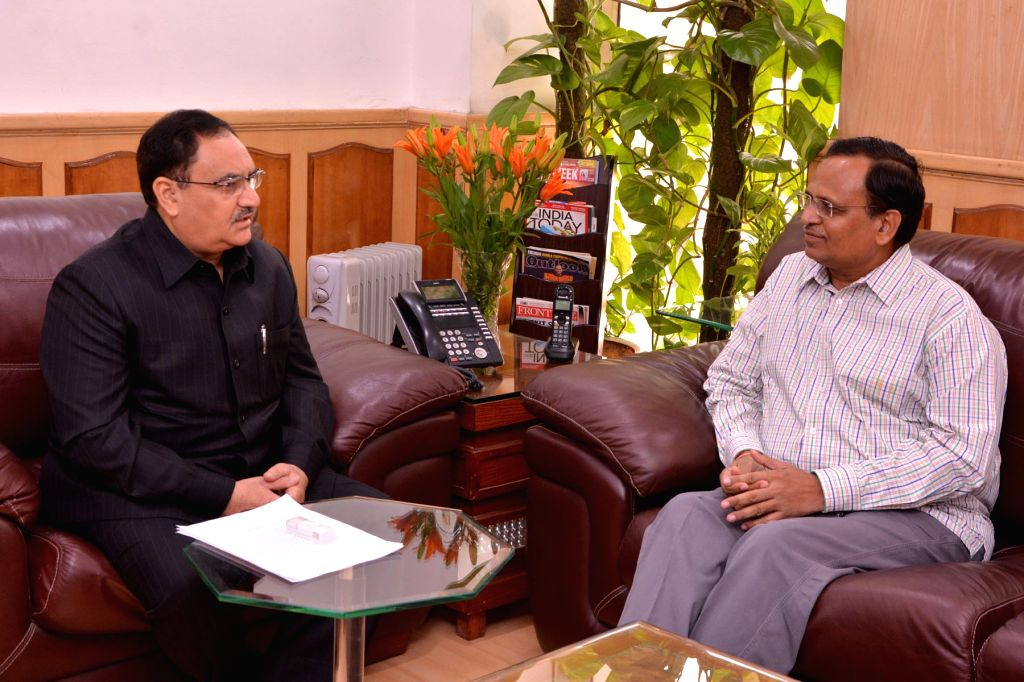 Delhi Health Minister Satyendra Jain calls on Union Minister for Health and Family Welfare JP Nadda to discuss the rising cases of Dengue and Chikungunya in the NCR region, at New Delhi on ... - Satyendra Jain