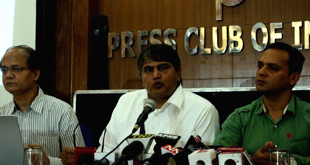 Delhi Legislator Colonel Devinder Sehrawat addresses a press conference in New Delhi, on Sept 20, 2016.