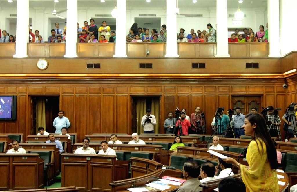 Delhi legislators at the Delhi Legislative Assembly on the Day 1 of the monsoon session of the house in New Delhi on Aug 3, 2015.