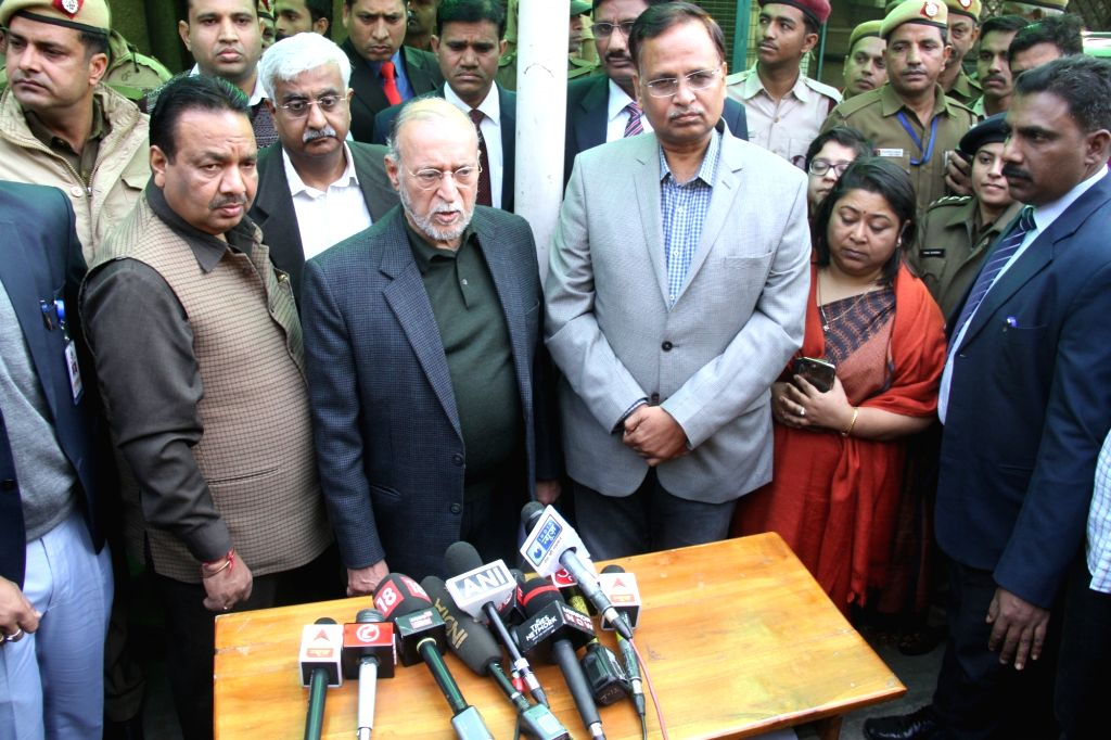 Delhi lieutenant governor, Anil Baijal talks to the press during his visit to the victims of Bawana factory fire at B R Ambedkar Hospital in New Delhi on Jan 21, 2018. As many as 17 ...