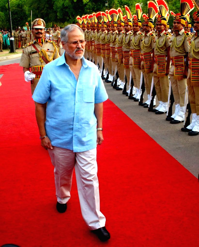 Delhi Lieutenant Governor Najeeb Jung during a programme organised to induct 30 Labrador Retriever dogs in Delhi Police's dog in New Delhi, on April 4, 2016.