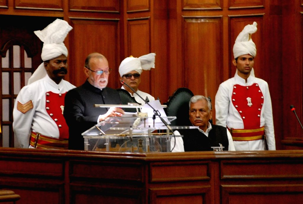 Delhi Lt Governor Anil Baijal addresses on the first day of Delhi Assembly's budget session in New Delhi, on March 6, 2017.