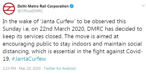 Delhi Metro service to be suspended during Janata Curfew.