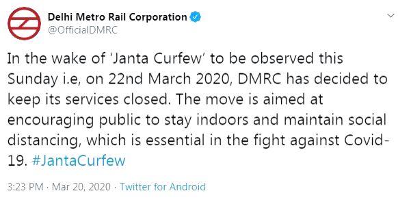 Delhi Metro service to be suspended during Janata Curfew.