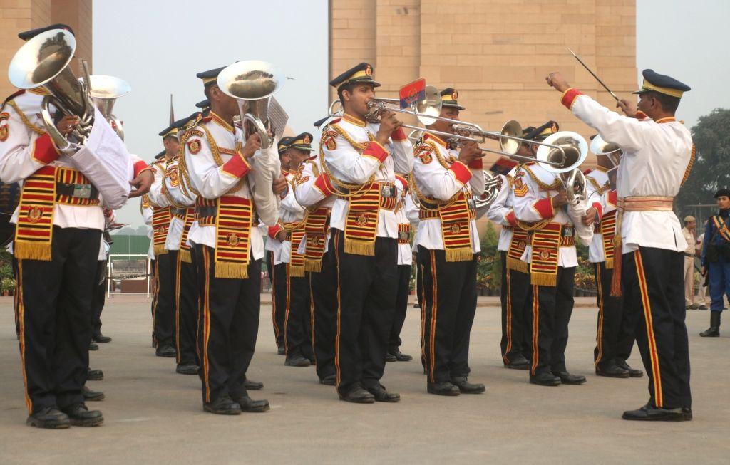 Delhi Police Band marches past India Gate during a programme organised on the occasion of Rashtriya Ekta Diwas - birth anniversary of the country's first Home Minister Sardar Vallabhbhai ... - Sardar Vallabhbhai Patel