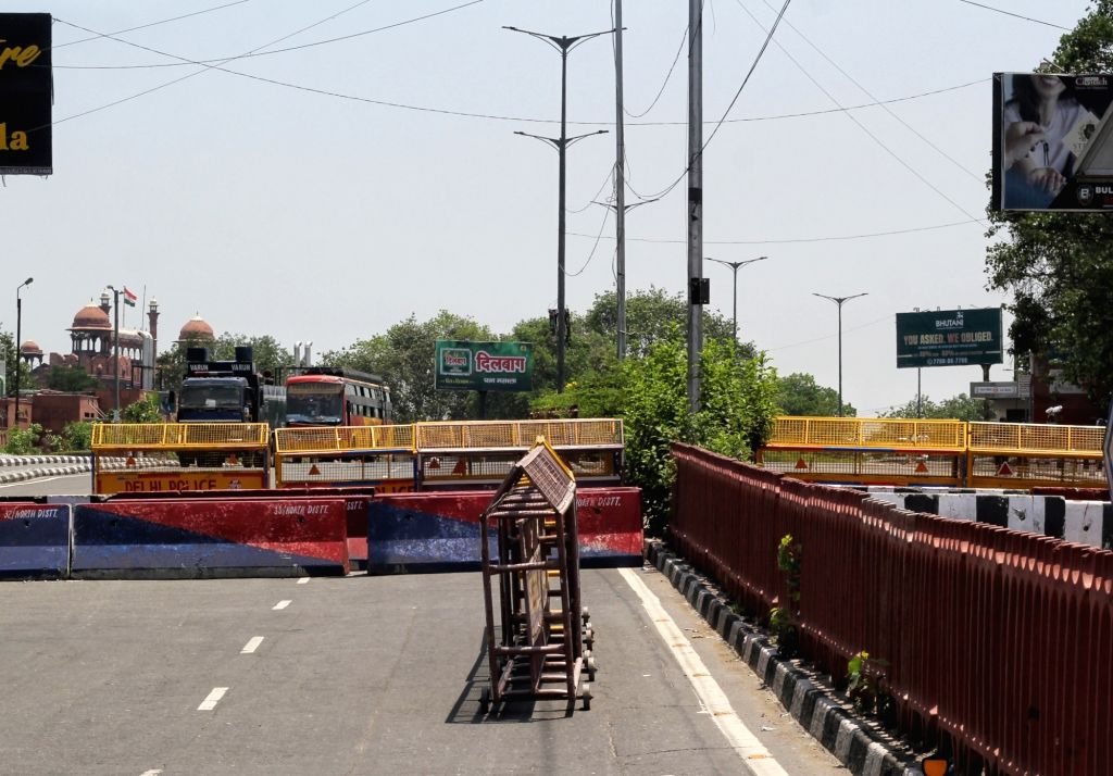 Delhi police blocked Redfort road by big concrete blocks during the Black Day called by Sanyukt Kisan Morcha (SKM) in New Delhi on Wednesday May 26, 2021