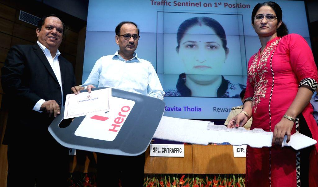 Delhi Police Commissioner Alok Kumar Verma during Hero MotoCorp Traffic Sentinel Scheme award ceremony in New Delhi, on Oct 18, 2016.