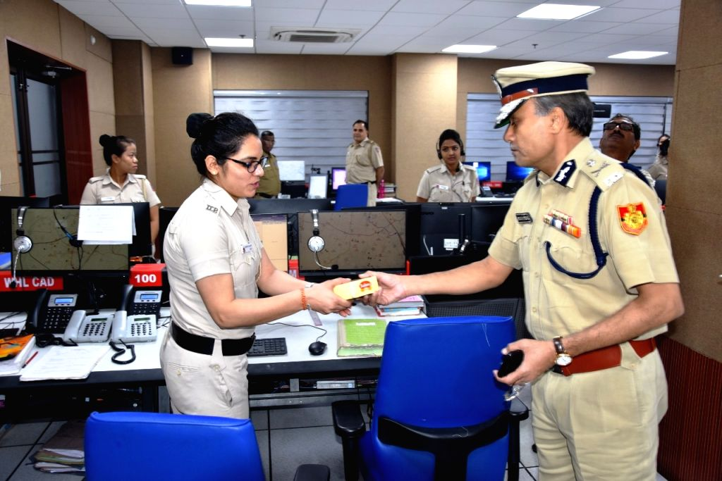 Delhi Police Commissioner Amulya Patnaik interacts with field functionaries deployed on duty in connection with Diwali arrangements by Delhi Police in the intervening night of Sunday and ...