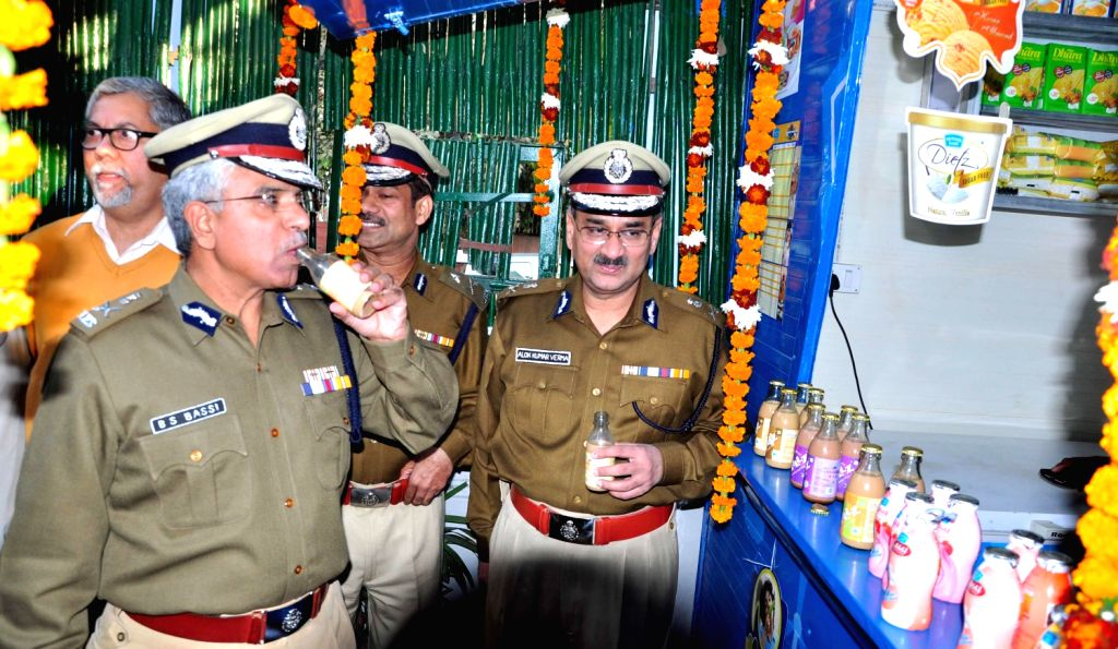 Delhi Police Commissioner BS Bassi during inauguration of a Mother Dairy outlet in Police Headquarters parking in in New Delhi on Dec.13, 2013.
