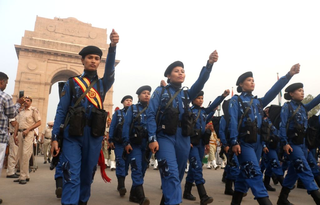 Delhi Police's all-women SWAT team marches past India Gate during a programme organised on the occasion of Rashtriya Ekta Diwas - birth anniversary of the country's first Home Minister ... - Sardar Vallabhbhai Patel