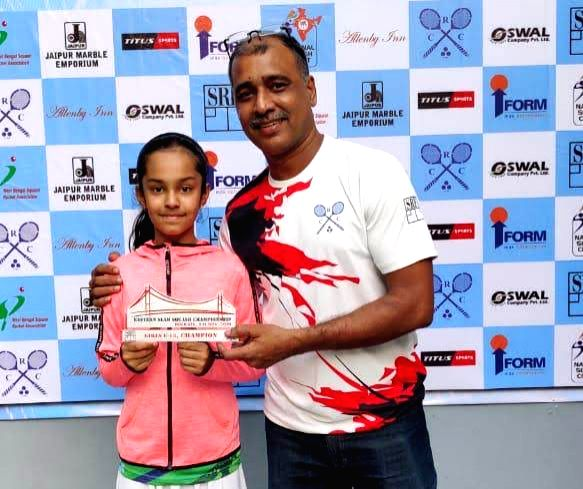 Delhi's Anahat Singh who along with her sister soared high with title wins in the finals of the Northern India Squash Championship held at Gymkhana Club, New Delhi on Wednesday. Dutch Junior ... - Anahat Singh, Amira Singh and Advita Sharma