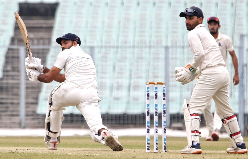 Delhi's Jonty Sidhu in action during the Ranji Trophy match between Delhi and Bengal at the Eden Gardens in Kolkata on Jan 29, 2020.