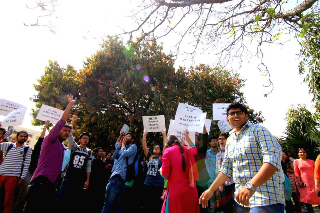 Delhi University (DU) students participate in a protest march against sexual harassment, in New Delhi on March 28, 2018.