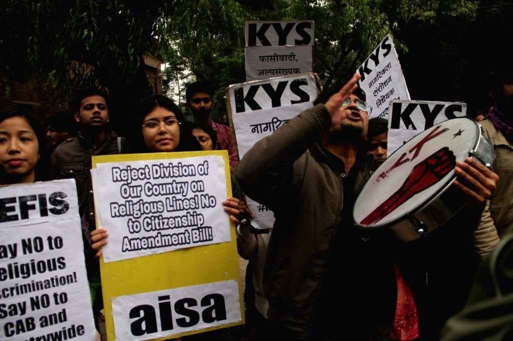 Delhi University (DU) students stage a demonstration opposing the Citizenship (Amendment) Bill (CAB) 2019, in New Delhi on Dec 12, 2019.