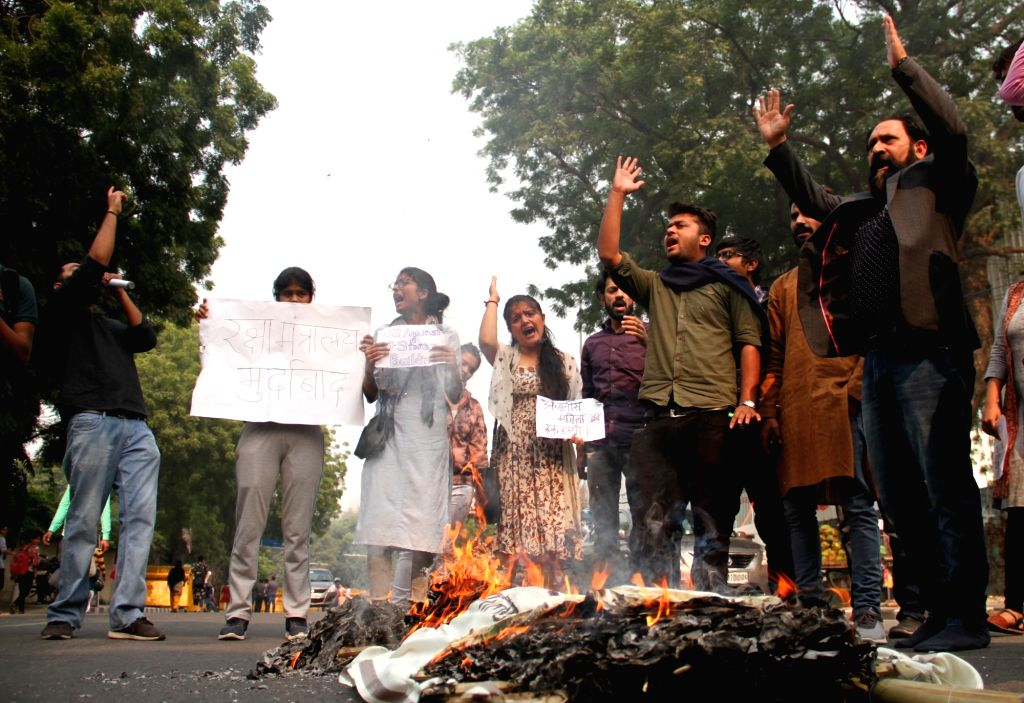 Delhi University students stage a demonstration against the proposed construction of a 39-storey building near North Campus, in New Delhi on Nov 12, 2019.