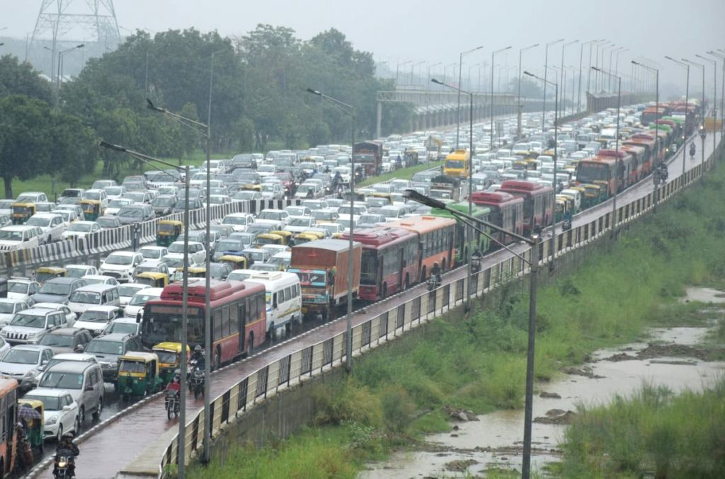 Delhi witnessed massive traffic jams after the national capital received heavy monsoon showers, on Aug 13, 2020.
