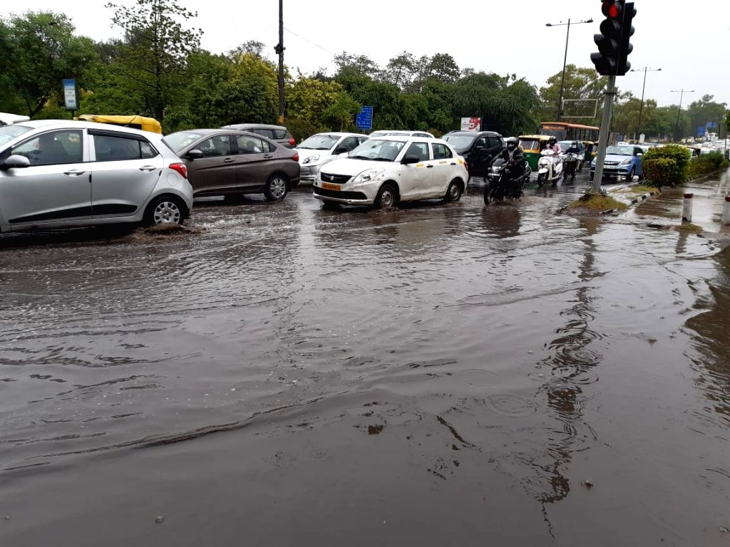 Delhi witnessed massive traffic jams due to water-logging during rains, in New Delhi on July 17, 2019.