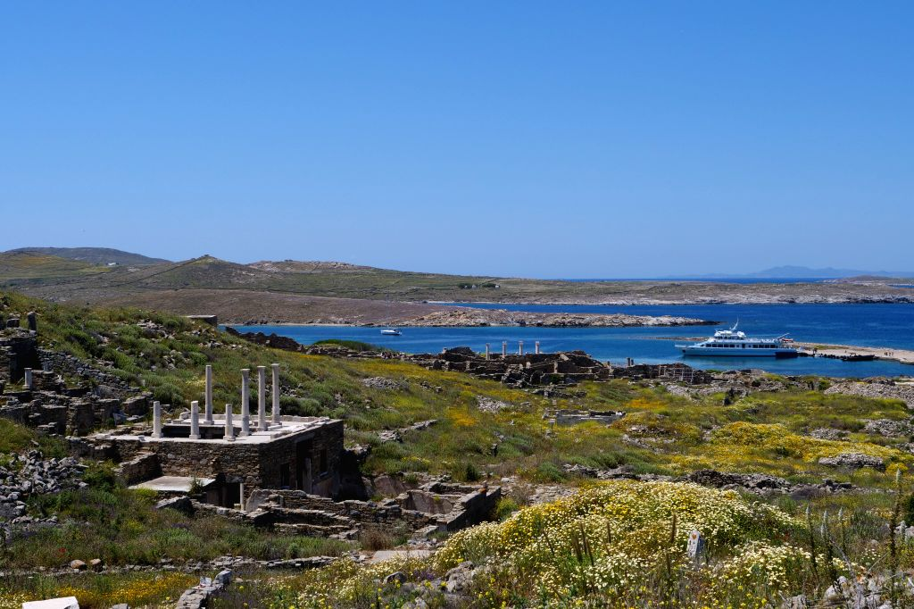 DELOS, May 12, 2019 - Photo taken on May 3, 2019 shows the scenery of Delos, Greece. Delos, once a booming trading center in the middle of the Aegean Sea near Mykonos, is a UNESCO world heritage with ...