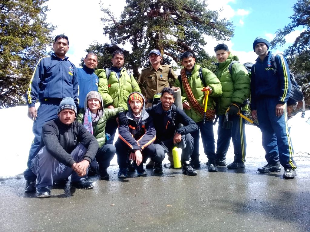 Deoriatal (Uttarakhand): French couple Alexander and Kloyi who were rescued by State Disaster Response Force (SDRF) personnel near Deoriatal in Uttarakhand after they lost their way while trekking in ...