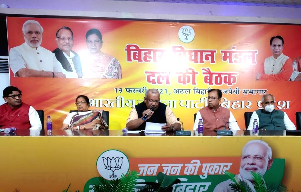 Deputy CM Tarkishore Prasad hold a meeting with party legislators at BJP state office in Patna on Friday February 19, 2021