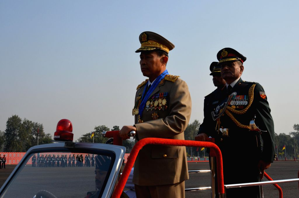 Deputy Commander-in-Chief Defence Services Myanmar and Commander-in-Chief Myanmar Army, Soe Win inspecting the passing out parade at the Officers Training Academy in Gaya on Dec. 14, 2013. (Photo: IANS)