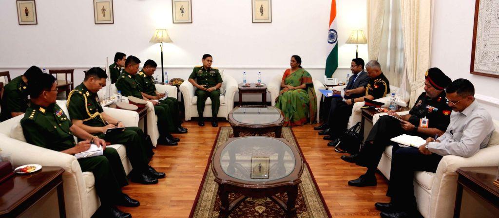 Deputy Commander-in-Chief of Myanmar Defence Services and Commander-in-Chief (Army), Vice Senior General Soe Win calls on Defence Minister Nirmala Sitharaman in New Delhi on Sept 18, 2018. - Nirmala Sitharaman