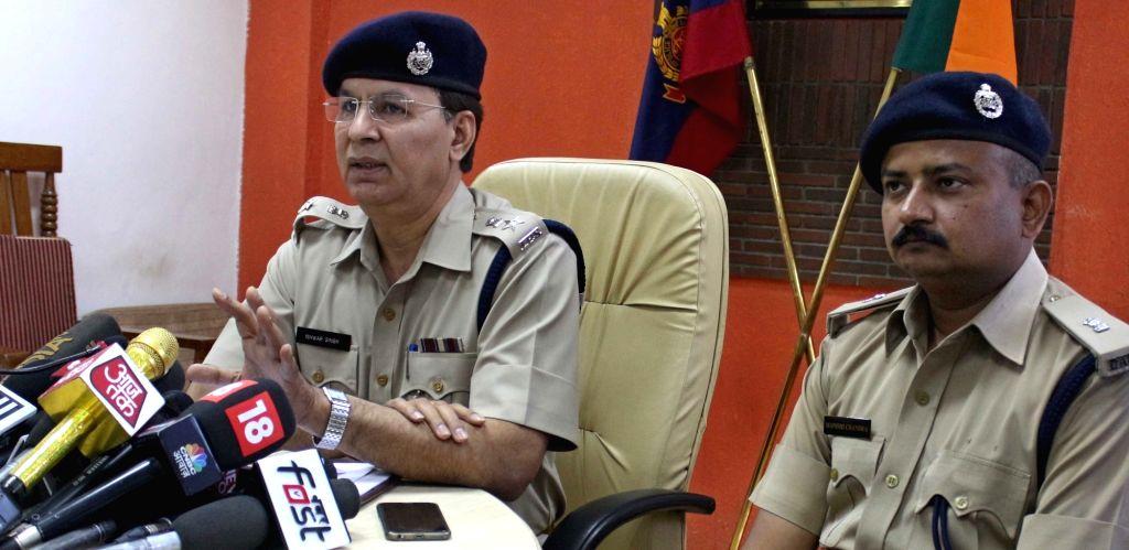Deputy Commissioner of Police (South) Ishwar Singh addresses a press conference regarding 'suicide' of JNU student, in New Delhi on March 14, 2017. - Ishwar Singh
