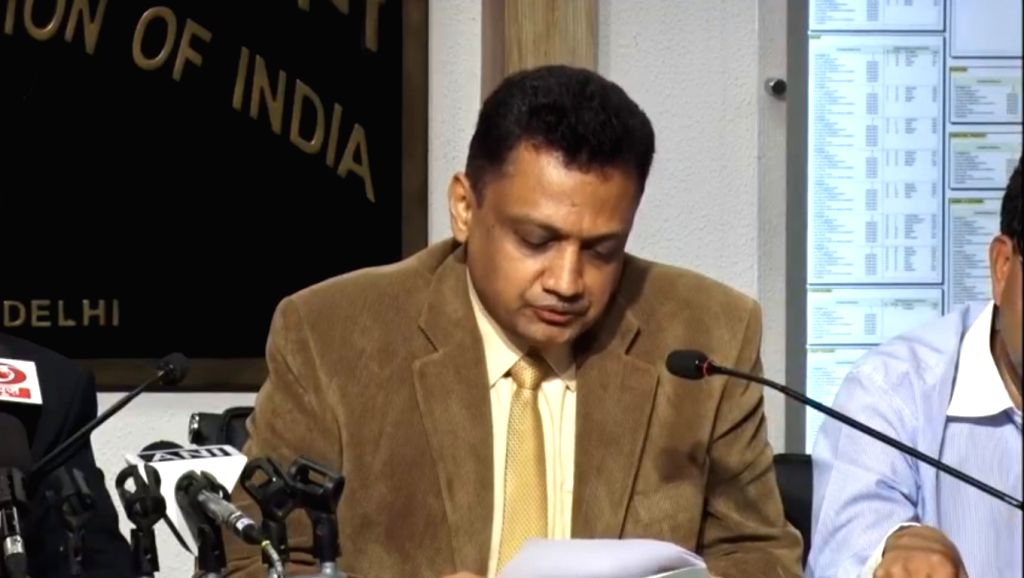 Deputy Election Commissioner Sudeep Jain addresses a press conference in New Delhi on May 19, 2019.