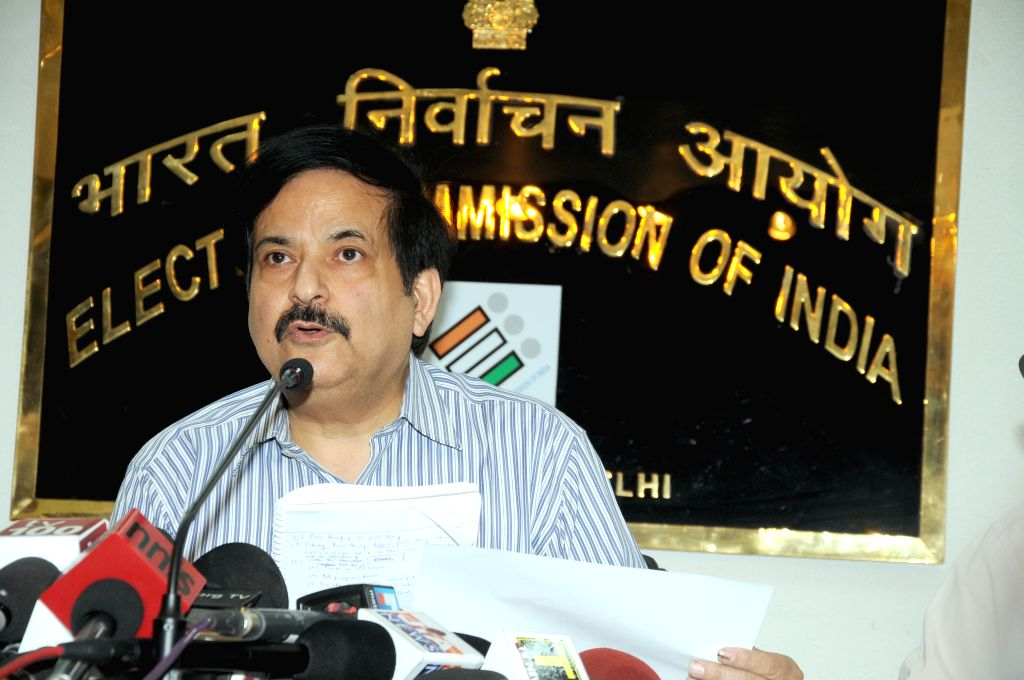 Deputy Election Commissioner Vinod Zutshi addresses a press conference at Nirvachan Sadan in New Delhi on May 6, 2014.