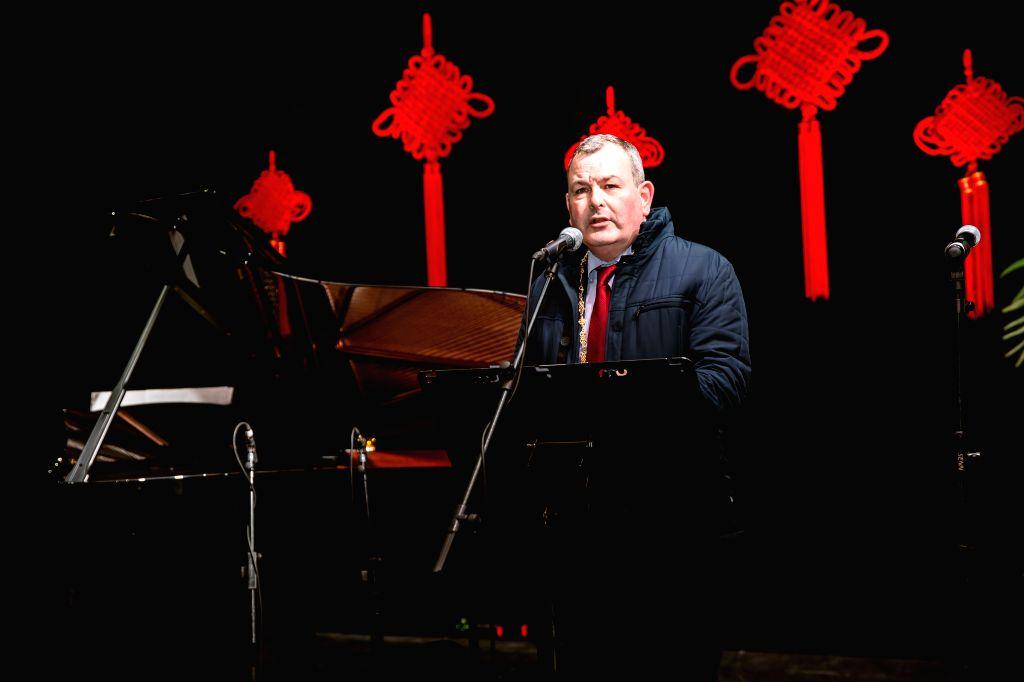 Deputy Mayor of Dublin Tom Brabazon addresses the opening ceremony of Dublin Chinese New Year Festival in Dublin, Ireland, Jan. 23, 2020. Dublin Chinese New Year ...