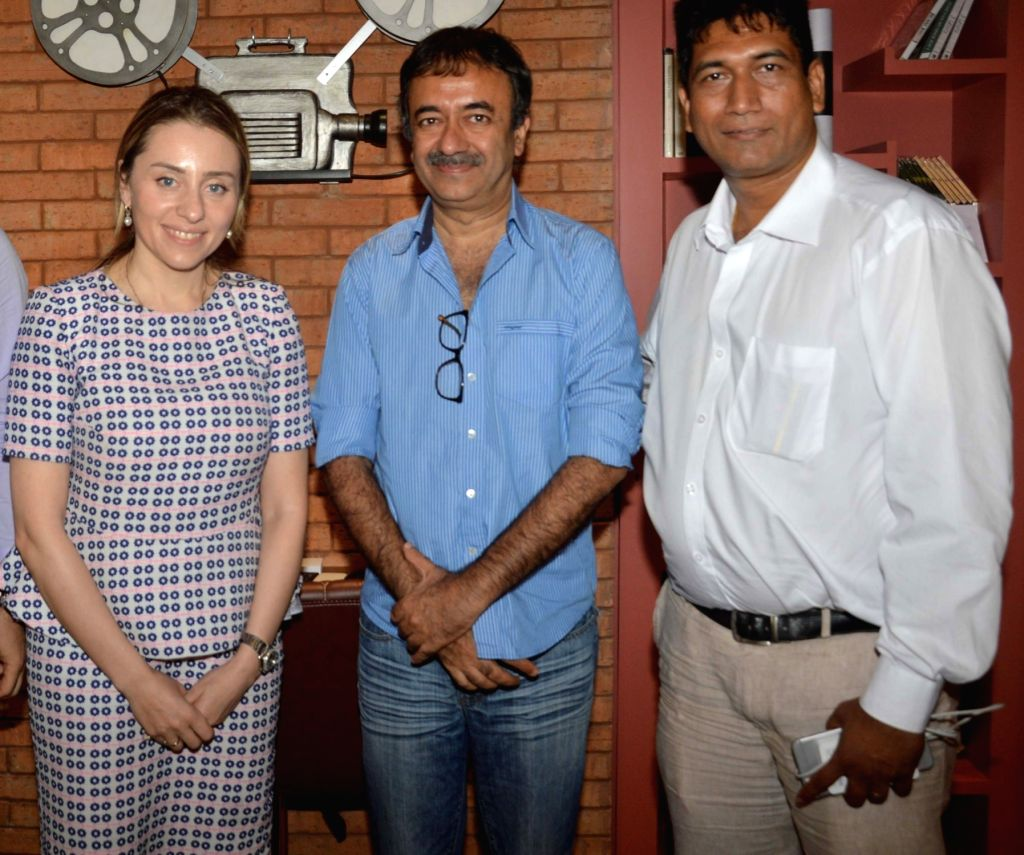 Deputy Minister of Economy and Sustainable Development of Georgia, Ketevan Bochorishvili, filmmaker Rajkumar Hirani and producer Satish Reddy during a meeting regarding Georgian government's ... - Satish Reddy