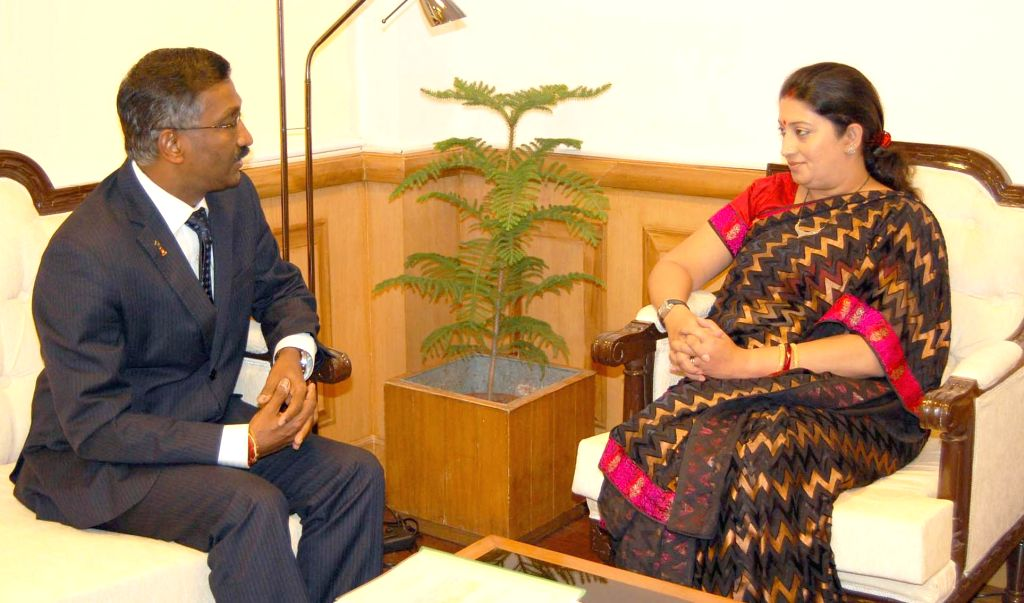 Deputy Minister of Education of Malaysia P. Kamalanathan calls on Union HRD Minister Smriti Irani in New Delhi on Sept 9, 2014.