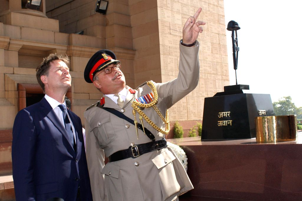 Deputy Prime Minister of United Kingdom Nick Clegg during his visit to India Gate in New Delhi on Aug 25, 2014.