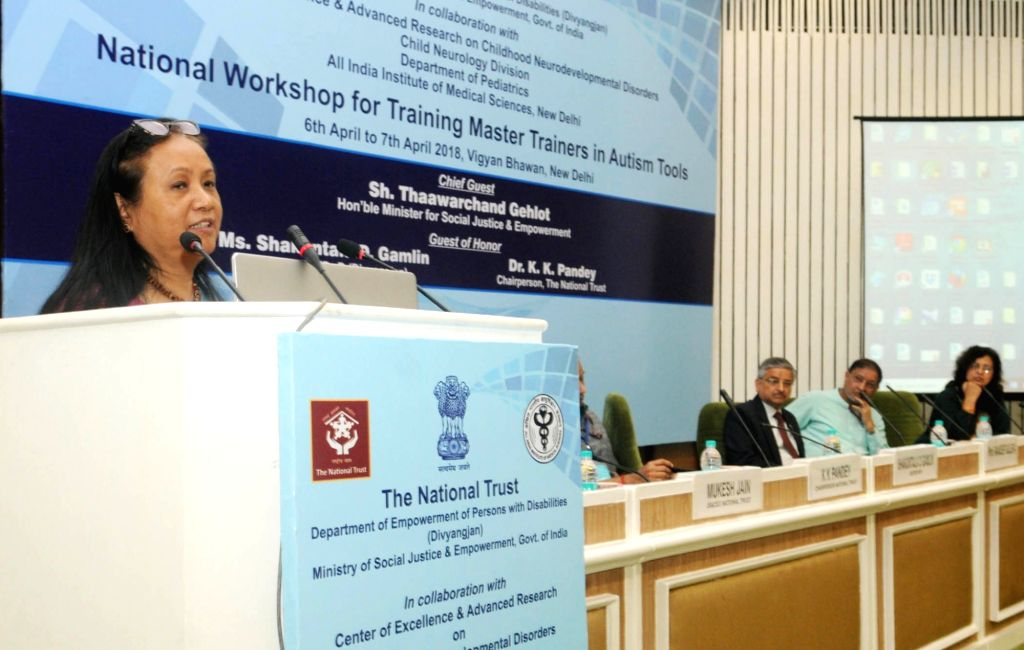 DEPwD Secretary Shakuntala Doley Gamlin addresses at the inauguration of the 4th National Workshop for Training on Autism Tools - INCLEN and ISAA for Diagnosis and Management of Autism ...